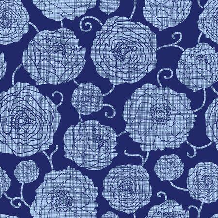 Vector Navy Textile Peonies Light Flowers Seamless Pattern. Denim, textured, elegant, modern, floral, swirl, graphic design