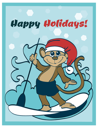 funny surfer: Vector Happy Surfing Holidays Paddleboarding Monkey Greeting Card graphic design Illustration