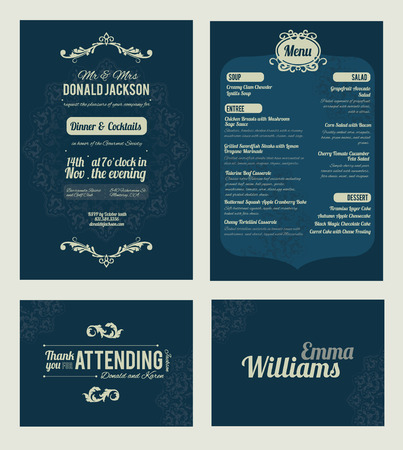 Vector Elegant Blue Dinner Coctails Party Invitation Set. Invite, menu, thank you, place card, event collection, graphic design