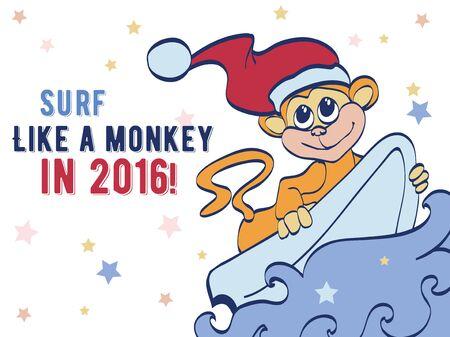 chimp: Vector Surfing Holidays New Year Monkey Greeting Card graphic design. Happy 2016. Celebration. Surf board. Chimp Illustration