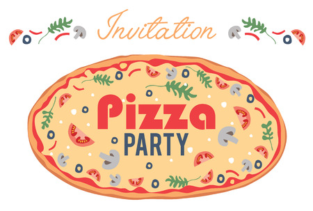 event party: Vector Pizza Party Invitation Poster Flyer Card. Dinner. Social Event. Invite. Italian. Bring Your Own Topping. Graphic design