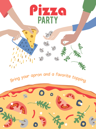 party friends: Vector Pizza Party Invitation Poster Flyer. Dinner. Social Event. Invite. Italian. Bring Your Own Topping. Graphic design Illustration