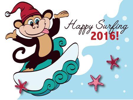 funny surfer: Vector Surfing New Year Monkey Holiday Greeting Card Design. Happy 2016. Celebration. Surf board. Chimp. Santa Hat.