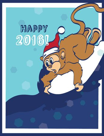 funny surfer: Vector Happy Surfing New Year Monkey Holiday Greeting Card Design. Happy 2016. Celebration. Surf board. Chimp. Graphic Design Illustration