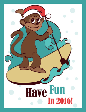 Vector Happy Surfing Paddleboarding Holidays Monkey Greeting Card Design. Sea. Ocean. Paddleboard. Surfer. Ape. Chimp. Graphic design