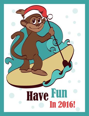 chimp: Vector Happy Surfing Paddleboarding Holidays Monkey Greeting Card Design. Sea. Ocean. Paddleboard. Surfer. Ape. Chimp. Graphic design