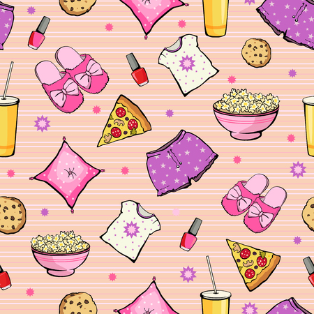 Vector Pink Slumber Party Food Objects Seamless Pattern. Pizza. Popcorn. Pajamas. Treat. Graphic design