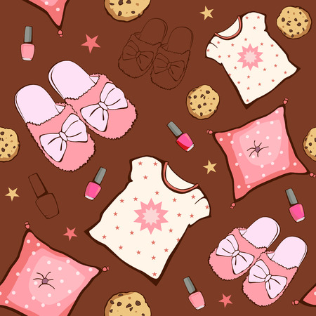 party: Vector Pink Brown Sleepover Party Food Objects Seamless Pattern. Pizza. Popcorn. Pajamas. Treat. Graphic design