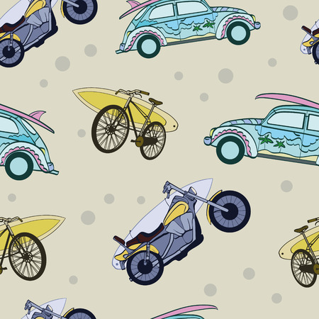 Vector Fun Surfboards On Transport Cars Bicycles Motorcylces Seamless Pattern. Bike. Sport. Surfing. Hawaii. California. Graphic Design.