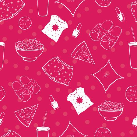 pijamada: Pajama Party Vector Hot Pink Alimentos Objetos Modelo inconsútil. Pizza. Palomitas. Aplazar. Sueño. Tratar. Diseño gráfico