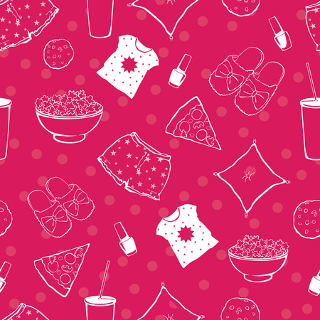 pajama: Vector Hot Pink Pajama Party Food Objects Seamless Pattern. Pizza. Popcorn. Sleepover. Slumber. Treat. Graphic design Illustration