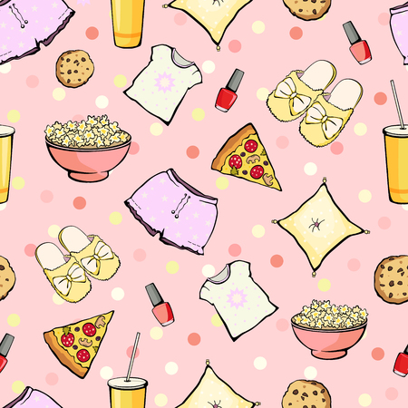 sleepover: Vector Cute Sleepover Party Food Objects Seamless Pattern. Pizza. Popcorn. Pajamas. Treat. Graphic design