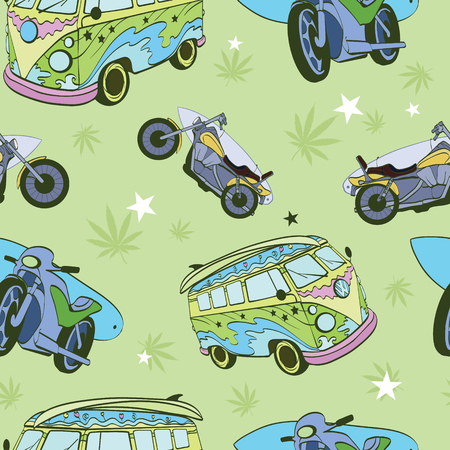 hippie: Vector Green Surfboards On Hippie Bus Motorcylces Seamless Pattern Bike Vacation Surfing Hawaii California Graphic Design.