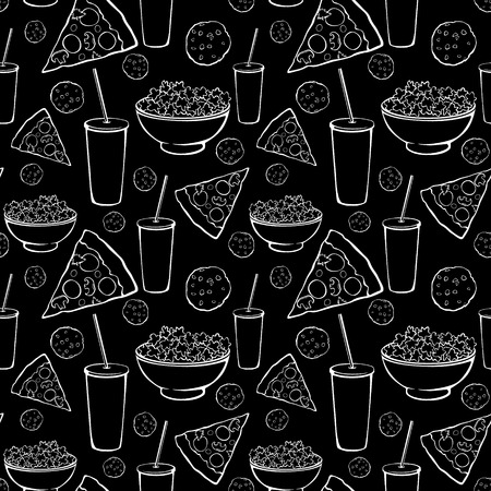 sleepover: Vector Black White Sleepover Movie Night Party Food Seamless Pattern. Pizza Drink Cookie Popcorn Snack Graphic design