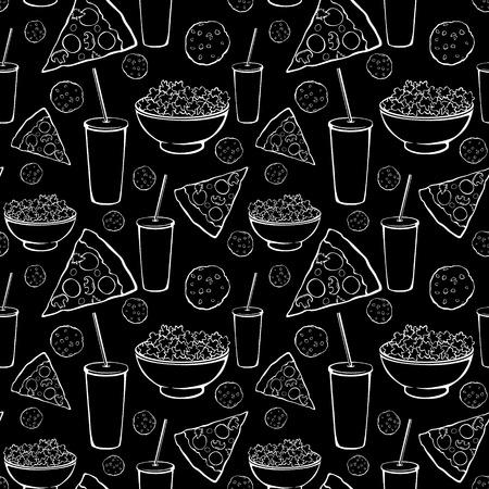 pijamada: Vector el modelo Negro Blanco Sleepover Noche de película Alimento del partido sin fisuras. Pizza de bebidas galleta palomitas Snack-Diseño Gráfico
