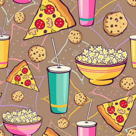 sleepover: Vector Brown Slumber Party Food Seamless Pattern. Pizza Drink Cookie Popcorn Snack Graphic design