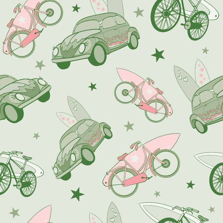 transported: Vector Vector Green Pink Surfboards Transported On Vehicles Cars Bicycles Seamless Pattern. Bike. Sport. Surfing. Hawaii. California. Graphic Design.