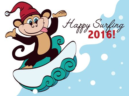 funny surfer: Vector Surfing New Year Monkey Holiday Greeting Card Design. Happy 2016. Celebration. Surf board. Chimp. Santa Hat. Graphic Design