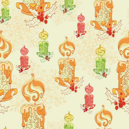 holly berries: Vector Christmas Lit Candles Light Festive Seamless Pattern. Holly berries celebration snowflakes decorations graphic design