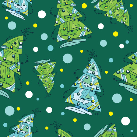 Vector Decorated Funky Christmas Trees Ornaments Doodle Seamless Pattern. Green tradition with snowflakes graphic design