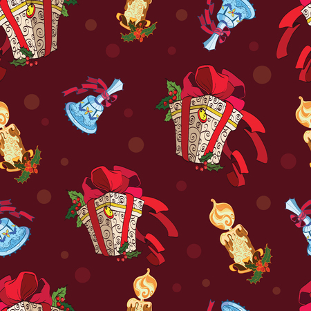 holly berries: Vector Christmas Presents Bells Candles Dark Red Seamless Pattern. Holly berries gift boxes decorations graphic design