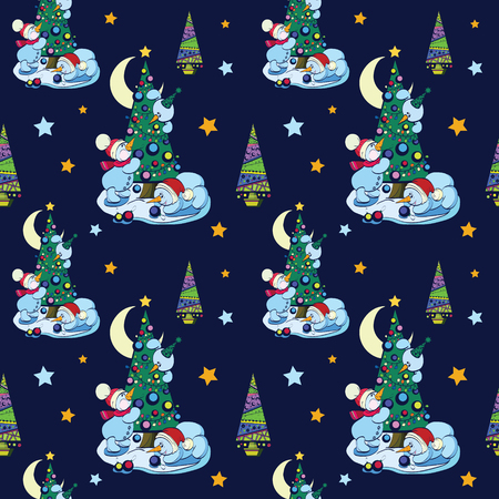 Vector Funny Snowman Decorating Christmas Trees With Ornaments Doodle Seamless Pattern. Night forest snow stars celebration graphic design