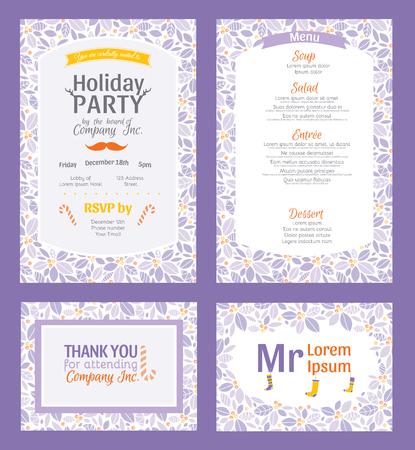 Uitnodiging Vector Puprle Holiday Party set met Holly Berry Patroon Frame. Nodig menu dank u plaatsing kaart grafisch ontwerp