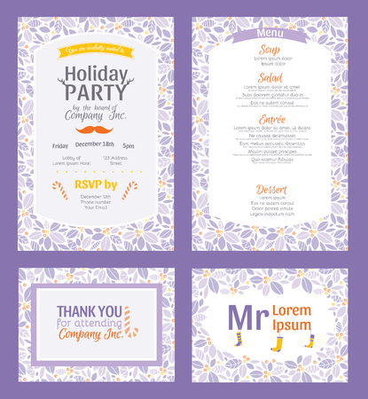 Vector Puprle Holiday Party Invitation Set With Holly Berry Pattern Frame. Invite menu thank you placement card graphic design Illustration