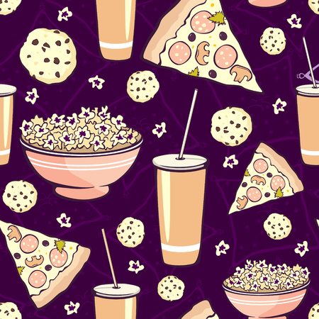 sleepover: Vector Purple Pink Pajama Party Movie Night  Food Seamless Pattern. Pizza Drink Cookie Popcorn Snack. Graphic Design Illustration