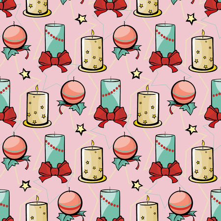 holiday lighting: Vector Pink Holiday Candles Christmas Festive Seamless Pattern. Stars bows celebration lighting decorations graphic design