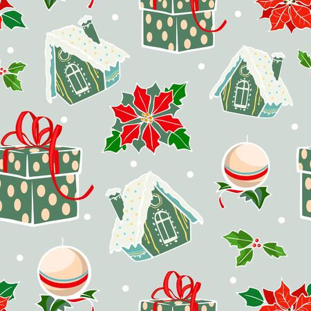 Vector Green Red Holiday Gingerbread Houses Candles Christmas Poinsettia Flowers Seamless Pattern. Prensents gift box holly berries graphic design