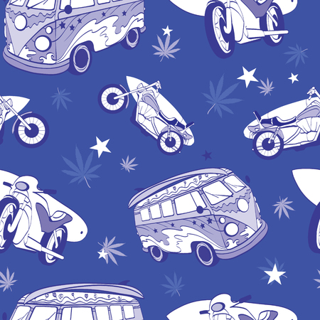 Vector Blue Surfboards On Hippie Bus Motorcylces Seamless Pattern Bike Vacation Surfing Hawaii California Graphic Design.