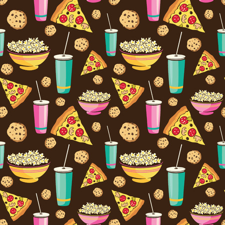 sleepover: Vector Colorful Sleepover Movie Night Party Food Seamless Pattern. Pizza Drink Cookie Popcorn Snack. Graphic design