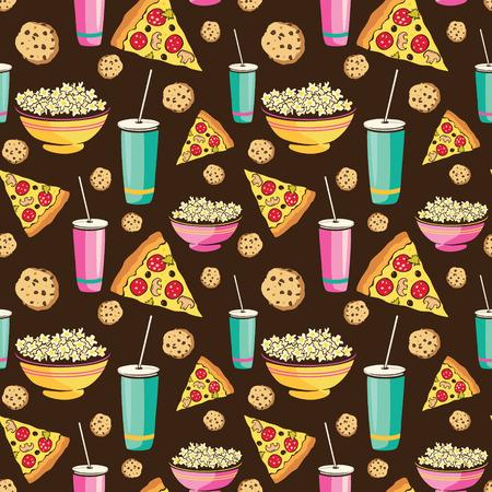 pijamada: Vector el modelo colorido Sleepover película Night Party Alimentos sin fisuras. Pizza Drink Cookies palomitas bocado. Diseño gráfico