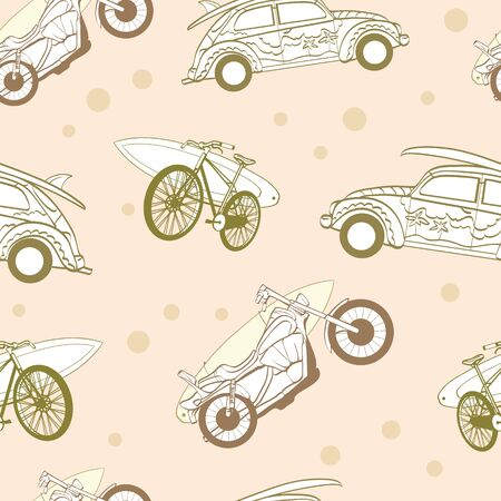 Vector Light Brown Surfboards Transported On Vehicles Cars Bicycles Motorcycles Seamless Pattern Bike Sport Surfing Hawaii California. Graphic Design.
