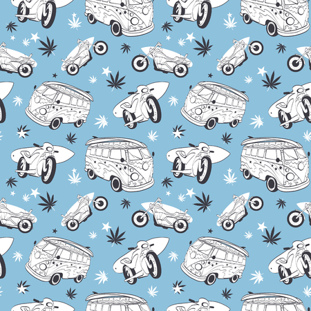 Vector Blue Gray Surfboards On Hippie Bus Motorcylces Seamless Pattern. Bike Vacation Surfing Hawaii California Graphic Design.