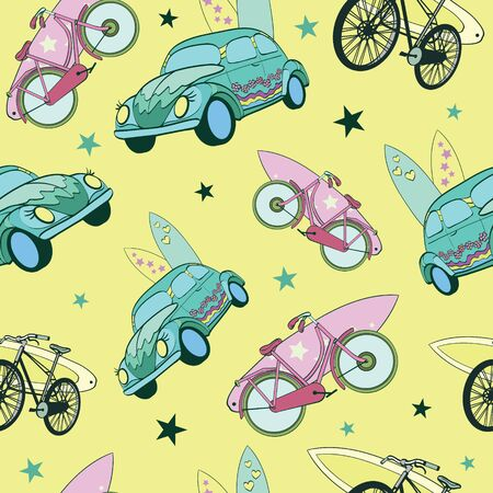 Vector Yellow Green Surfboards On Cars Bicycles Seamless Pattern. Travel and Bike Vacation. Surfing, Hawaii, California Graphic Design.