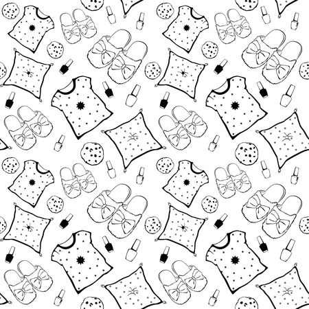 Vector Black White Pajama Movie Night Party Necessities Seamless Pattern. Pillow Nail Polish Cookie Snack Graphic design
