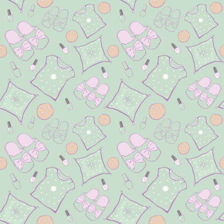 sleepover: Vector Green Pajama Party Movie Night Seamless Pattern. Slippers, pillows and snacks. Graphic Design Illustration