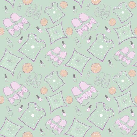 pijamada: Vector Patrón partido de pijama verde la noche de película sin fisuras. Zapatillas, almohadas y aperitivos. Diseño gráfico