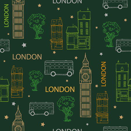 london night: Vector Green London Streets Hand Drawn Seamless Pattern with houses, trees, busses and Big Ben tower. Graphic design