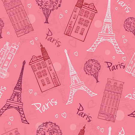 eifel: Vector Pink Romantic Paris Streets Seamless Pattern with Eifel Tower, houses, trees and hearts. Graphic design. Illustration