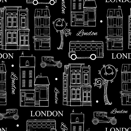 london night: Vector Black White London Streets Hand Drawn Seamless Pattern with houses, trees, busses, and cars. Graphic design Illustration