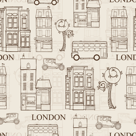Vector Vintage Brown London Streets Hand Drawn Seamless Pattern with houses, trees, busses, and cars. Graphic design