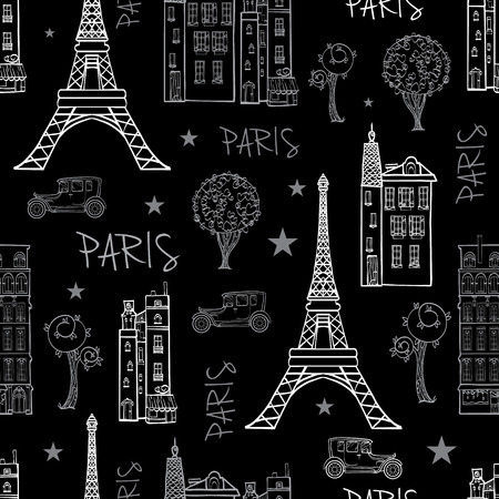 Black White Paris Streets Travel Seamless Pattern with Eiffel Tower, houses, trees and vintage cars. Graphic design.