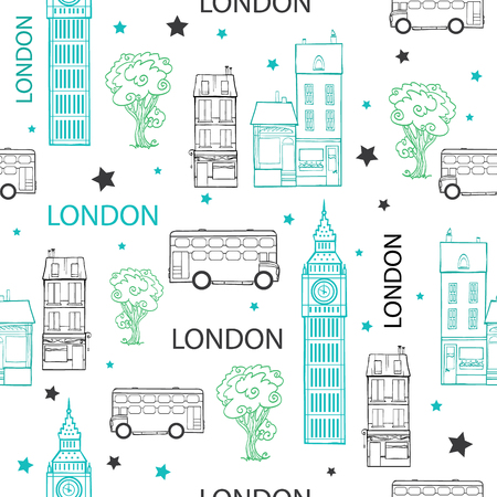 London Streets Hand Drawn Seamless Pattern with houses, trees, busies and Big Ben tower. Graphic design