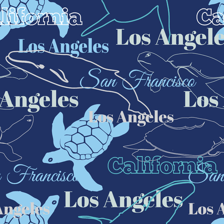Blue Travel California Cities Animals Seamless Pattern with Los Angeles, San Francisco, Turtles, and Whales. Graphic design. Repeat pattern art and design with hand drawn elements and typographic elements.
