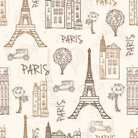 eifel: Vintage Brown Paris Streets Travel Seamless Pattern with Eiffel Tower, houses, trees and vintage cars. Graphic design. Illustration