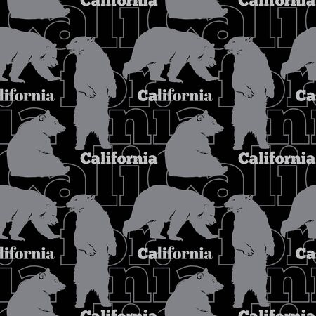Travel California Bears Seamless Pattern with gray bears sitting, standing up and walking on black background. Graphic design. Custom California inspired fabric design or background.