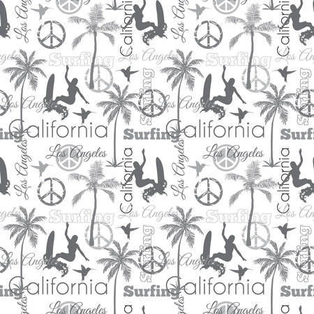 grey pattern: Surfing California Gray Seamless Pattern Surface Design With Surfing Women, Palm Trees, Peace Signs, Surf Boards Graphic Design. Custom original fabric repeat pattern design inspired by California.